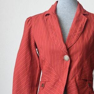 Vintage Kenzo Red Pinstriped Cropped Blazer